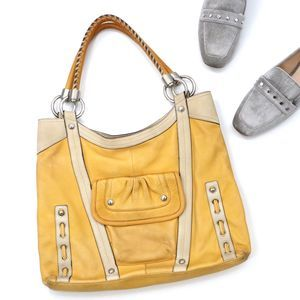 B. Makowsky Yellow Cream Leather Tote Bag